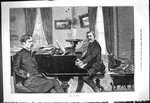 Boito & Verdi working together, in a historic print from 1887