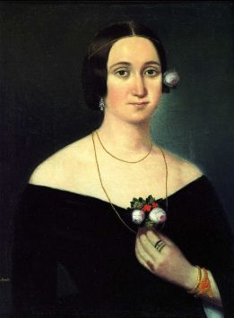 Painting of soprano Giuseppina Strepponi (1850) by Russian artist Karoly Gyurkovich