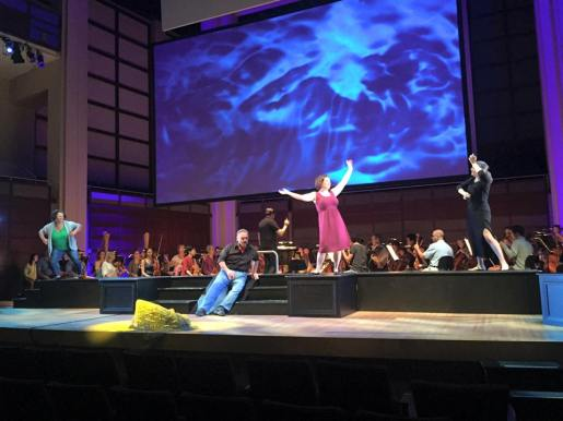 Alberich (Todd Thomas) & the Rhine Maidens, in rehearsal for Scene I of Das Rheingold (Photo: North Carolina Opera)