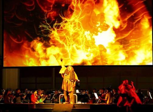 Todd Thomas as Alberich stealing the Rhinegold (Photo: North Carolina Opera)