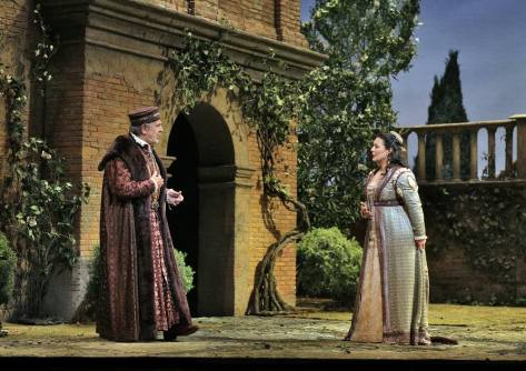 Dom,ingo as Boccanegra, with Lianna Haroutounian as Amelia, in the Recognition Scene, Act I, scene i (Photo: Ken Howard / Met Opera)