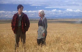 Young Clark (Jeff East) bids goodbye to his forster mother (Phyllis Thaxter)