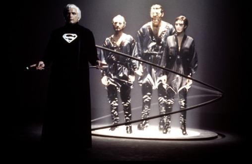 Jor-El (Marlon Brando) passes judgment on three criminals in Superman