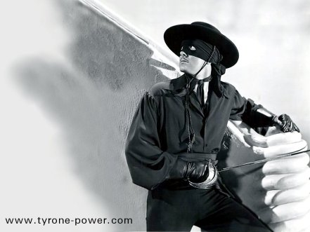 Publicity Shot of Tyrone Power as Zorro (www.tyrone-power.com)