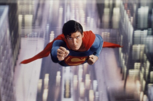 "Christopher Reeve as the ""reel"" Man of Steel in Superman (1978)"