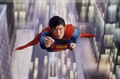 """Christopher Reeve as the """"reel"""" Man of Steel in Superman (1978)"""