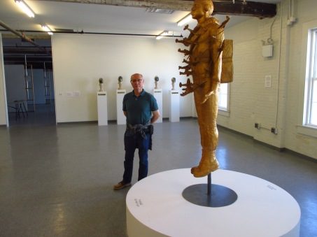 Yours truly beside sculpture of Tar Baby vs, St. Sebastian (Photo courtesy of Lower Manhattan Cultural Council, Sep. 2016)