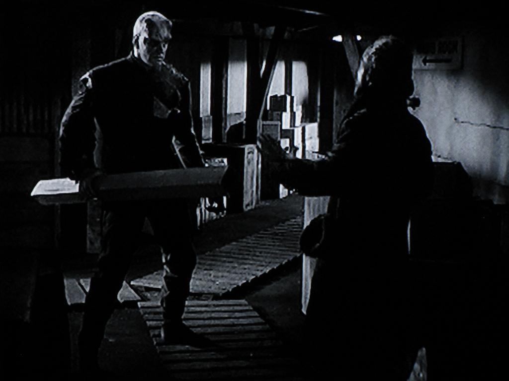 The Thing (James Arness) meets the Scientist (Robert Cornthwaite)