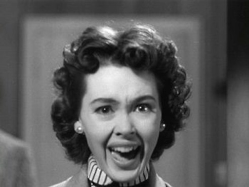 Ellen Fields (Barbara Rush) screams for her life in It Came from Outer Space