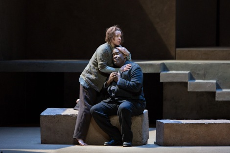 """Nina Stemme in the title role and Eric Owens as Orest in Richard Strauss's """"Elektra"""". Photo: Marty Sohl/Metropolitan Opera."""