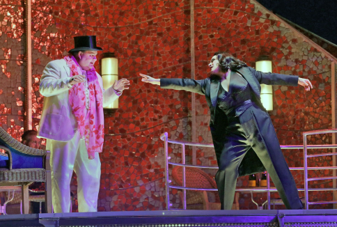 """""""Reach out and touch"""" - Salome (Racette) entices Herod (Siegel) to give in to her entreaties (Photo: Met Opera)"""