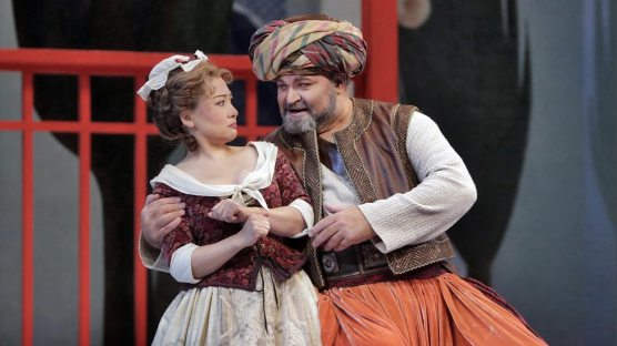 Blondchen (Kathleen Kim) parries as Osmin (Hans-Peter Konig) thrusts in The Abduction from the Seraglio (Met Opera)