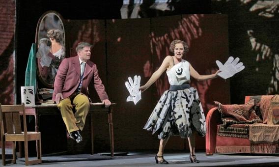 "Alwa (Daniel Brenna) is ""hands-on"" with Lulu (Marlis Petersen) in William Kentridge's production"